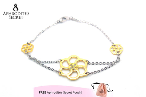 Aphrodite's Secret High Quality Stainless Steel Bracelet Two-Tone Petals Flower Design