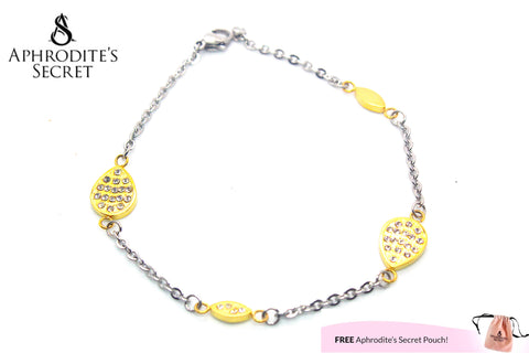 Aphrodite's Secret High Quality Stainless Steel Bracelet Two Tone Raindrop Design