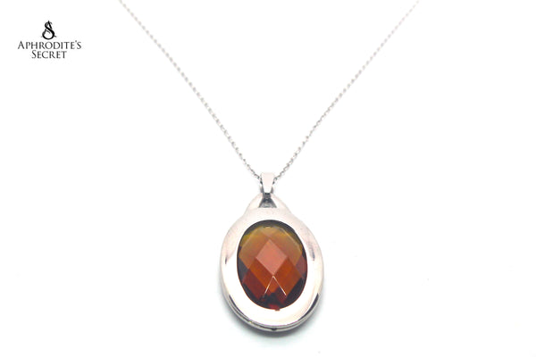 Aphrodite's Secret High Quality Stainless Steel Gemstone Design Big Pendant + Necklace