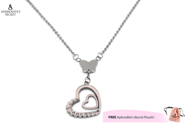 Aphrodite's Secret High Quality Stainless Steel Necklace Butterfly Heart Design
