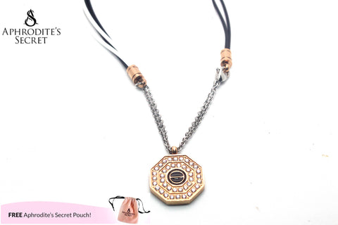 Aphrodite's Secret High Quality  Necklace Black & White Strands Octagon design Pendant