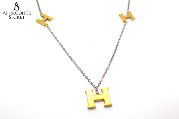 High Quality Stainless Steel Necklace H Two Tone Hermes inspired design