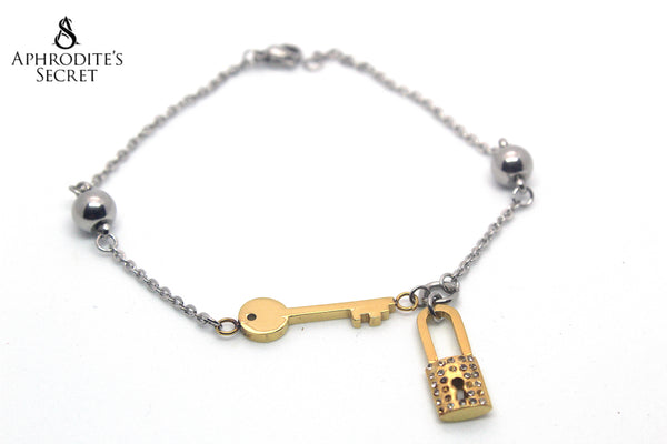Aphrodite's Secret High Quality Stainless Steel Bracelet Two Tone Lock Key Design