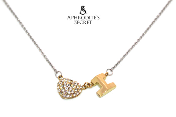 Aphrodite's Secret High Quality Stainless Steel Two Tone Crystal Heart Design Pendant + Necklace