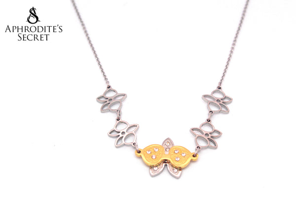 Aphrodite's Secret Stainless Steel High Quality Necklace Two Tone Butterfly Flower Design
