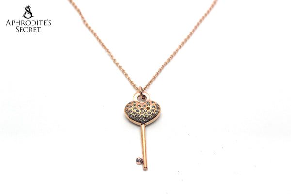 Aphrodite's Secret Stainless Steel High Quality Necklace Heart Key design(Rose Gold)