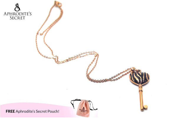 Aphrodite's Secret Stainless Steel High Quality Necklace Colored Heart Key Design (Rose gold)