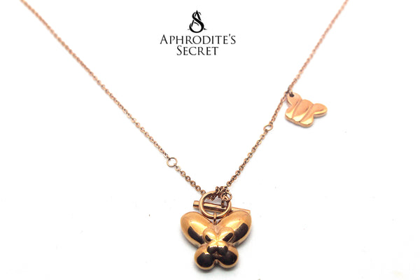 Aphrodite's Secret Stainless Steel High Quality Necklace Solid Dangling Butterflies design (Rose Gold)