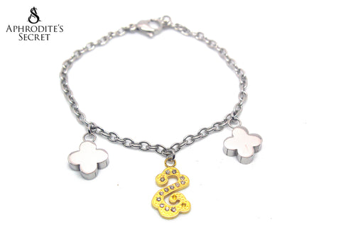 Aphrodite's Secret High Quality Stainless Steel Bracelet Two Tone Petals Dangling Design
