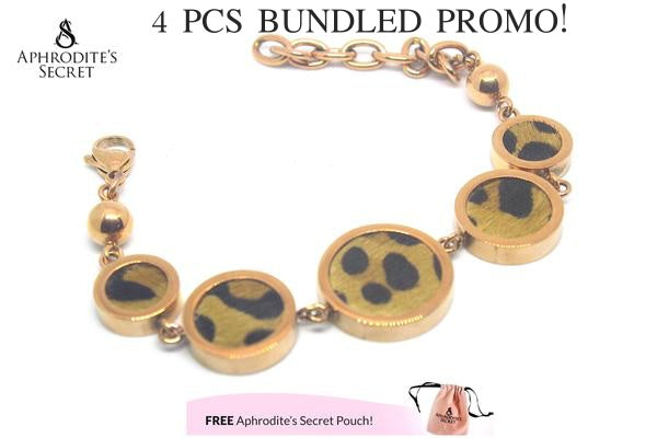 Aphrodite's Secret High Quality Stainless Steel Big Bracelet Animal print design (4 PCS)