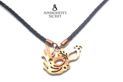 Aphrodite's Secret High Quality Leather Necklace Retro Big Pendant Masquerade Mask Design