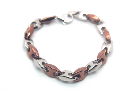 High Quality Stainless Steel Big Bracelet Men (Unisex) Two Tone chain design