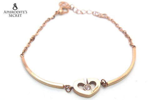 High Quality Stainless Steel Bracelet Bangle Heart Rhinesstone Cartier inspired Design (Rose Gold)