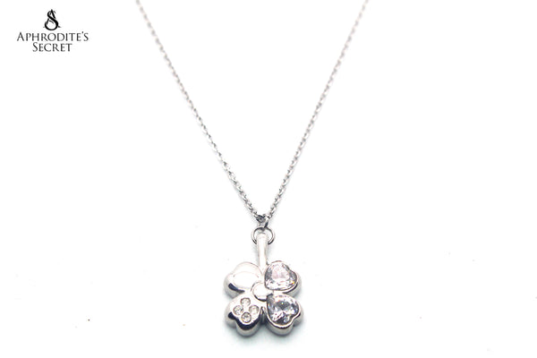 Aphrodite's Secret Stainless Steel High Quality Necklace  Four leaf clover rhinestone Design