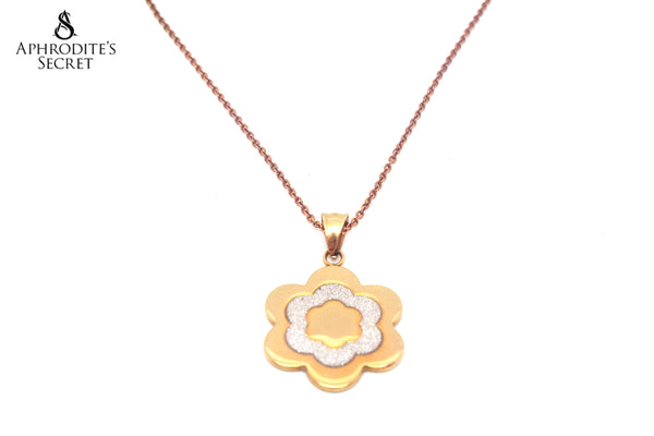 Aphrodite's Secret High Quality Stainless Steel Gold Big Petal Flower Design Pendant + Necklace (Rose Gold)
