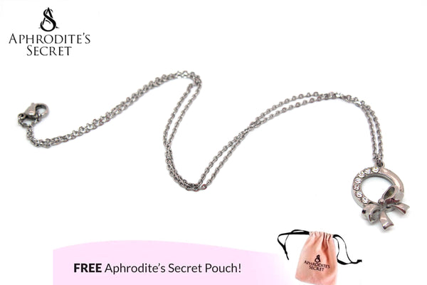 Aphrodite's Secret High Quality Stainless Steel Ribbon Design Pendant + Necklace