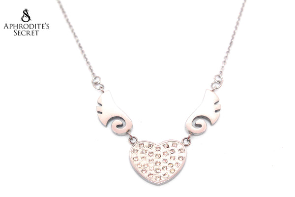 Aphrodite's Secret High Quality Stainless Steel Necklace Winged Heart Design