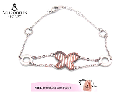 Aphrodite's Secret High Quality Stainless Steel Bracelet Two Tone Butterfly Design