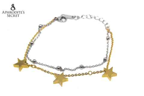 Aphrodite's Secret High Quality Stainless Steel Bracelet Two Tone Dangling Stars Design