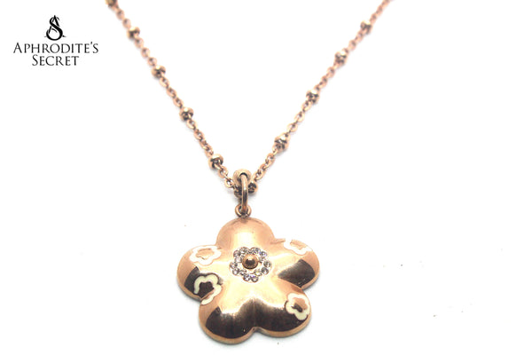 Aphrodite's Secret Stainless Steel High Quality Long Necklace  Big Floral Pendant DEsign (Rose Gold)