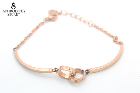 Aphrodite's Secret High Quality Stainless Steel Bracelet  Bangle Interlocked Rings Design (Rose Gold)