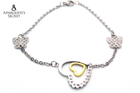 Aphrodite's Secret High Quality Stainless Steel Bracelet  Two Hearts Butterflies Design
