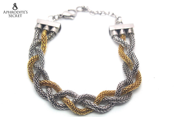 Aphrodite's Secret High Quality Stainless Steel Big Bracelet  Two Tone Knotted Design