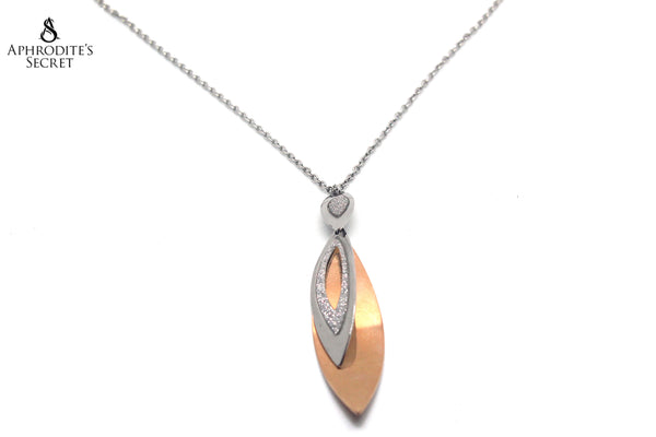 Aphrodite's Secret Stainless Steel High Quality Long Necklace  Big Two Tone Dangling DEsign