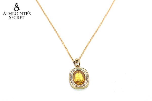 Aphrodite's Secret Stainless Steel High Quality Necklace  Gemstone  Gold  Design