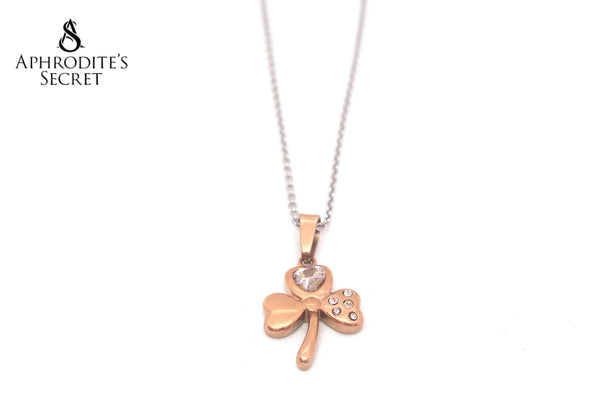 Aphrodite's Secret High Quality Stainless Steel Rose Gold Stemmed Petal Pendant + Necklace