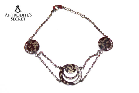 Aphrodite's Secret High Quality Stainless Steel Bracelet  Floral Circles Design