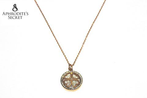 Aphrodite's Secret Stainless Steel High Quality Necklace Rhinestones Gold Four Leaf Clover Design