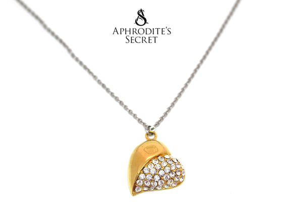 Aphrodite's Secret High Quality Stainless Steel Gold Crystal Heart Design Pendant + Necklace