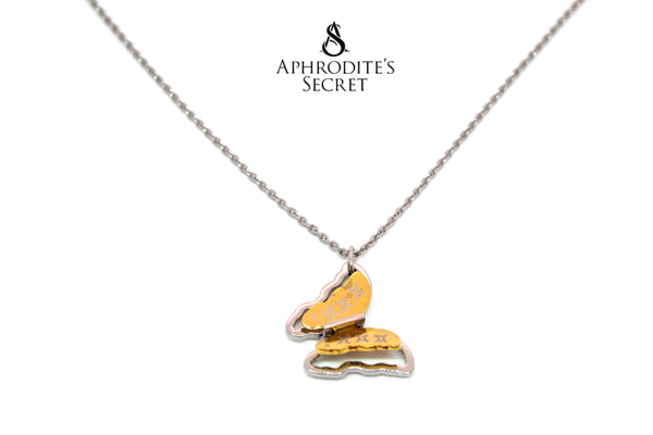 Aphrodite's Secret High Quality Stainless Steel Two tone Butterfly Design Pendant + Necklace