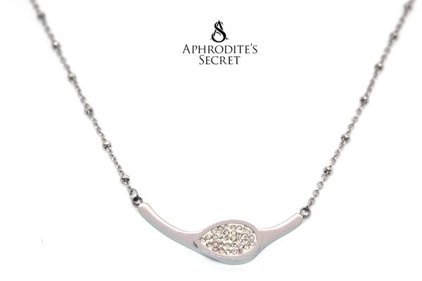 Aphrodite's Secret High Quality Necklace Stainless Steel Curved Cystal Design (5 PCS)