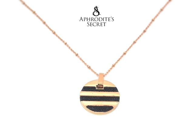 Aphrodite's Secret High Quality Stainless Steel striped small medallion Design Pendant Necklace (5 PCS)