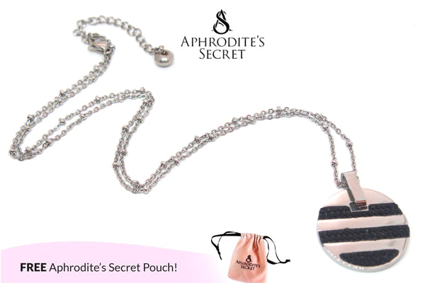 Aphrodite's Secret High Quality Stainless Steel striped small medallion Design Pendant + Necklace