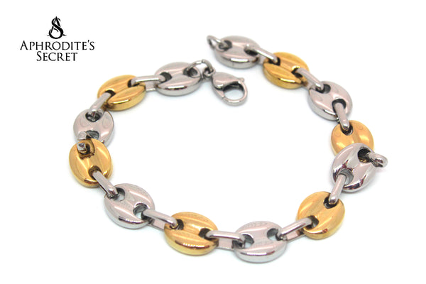 Aphrodite's Secret High Quality Unisex Stainless Steel Bracelet Two tone Interlocking Big Chains Design