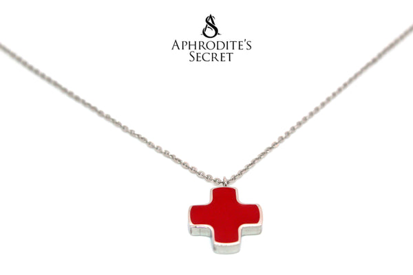 Aphrodite's Secret High Quality Stainless Steel Cute Cross Design Pendant + Necklace