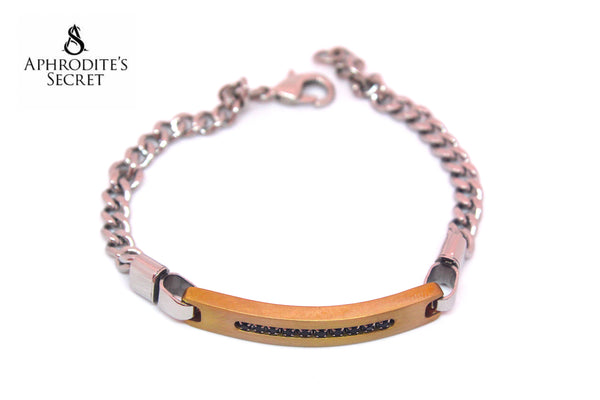 Aphrodite's Secret High Quality Stainless Steel Unisex Two Tone Tag Bracelet Design