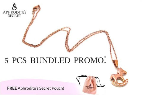 Aphrodite's Secret High Quality Rose Gold Stainless Steel  Toy Horse Design Pendant Necklace (5 PCS)