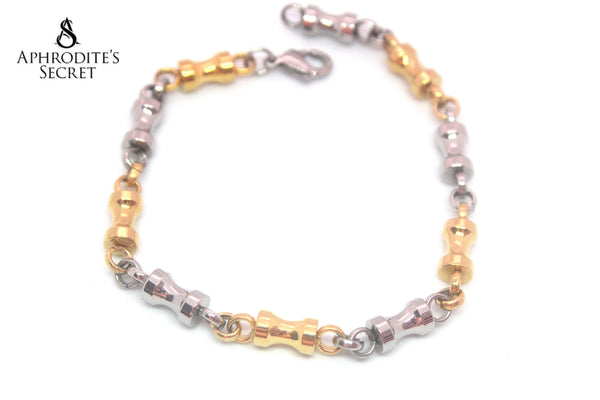 Aphrodite's Secret High Quality Stainless Steel Bracelet Two Tone Dumbbell Design
