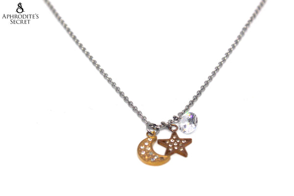 Aphrodite's Secret High Quality Stainless Steel Necklace Two Tone Star Moon Design
