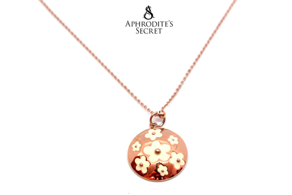 Aphrodite's Secret High Quality Stainless Steel Necklace Floral White Medallion Design (Rose Gold)
