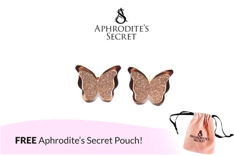 Aphrodite's Secret High Quality Stainless Steel Rose Gold Layered Butterfly Design Earrings