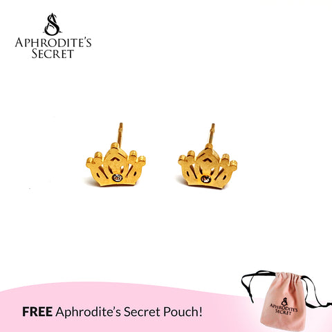Aphrodite's Secret High Quality Stainless Steel Gold Crown Design Earrings