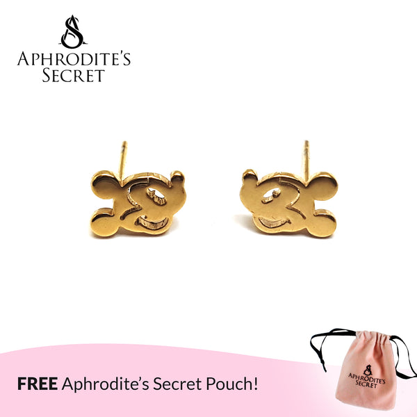 Aphrodite's Secret High Quality Stainless Steel  Gold Mickey Design Earrings