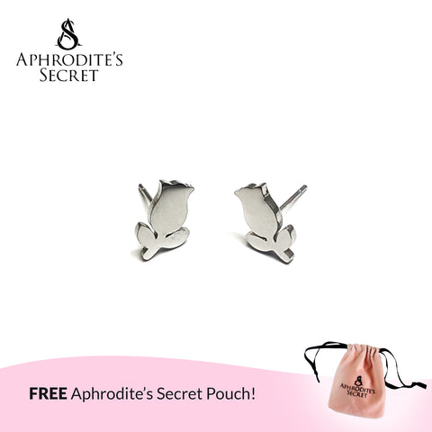 Aphrodite's Secret High Quality Stainless Steel Silver Stemmed Rose Design Earrings