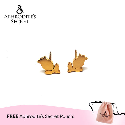 Aphrodite's Secret High Quality Stainless Steel Gold Stemmed Rose Design Earrings