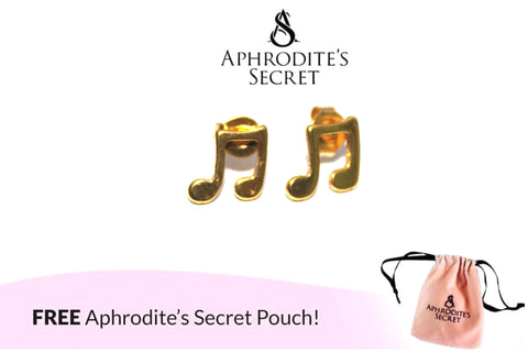 Aphrodite's Secret High Quality Stainless Steel Gold Musical Notes Design Earrings